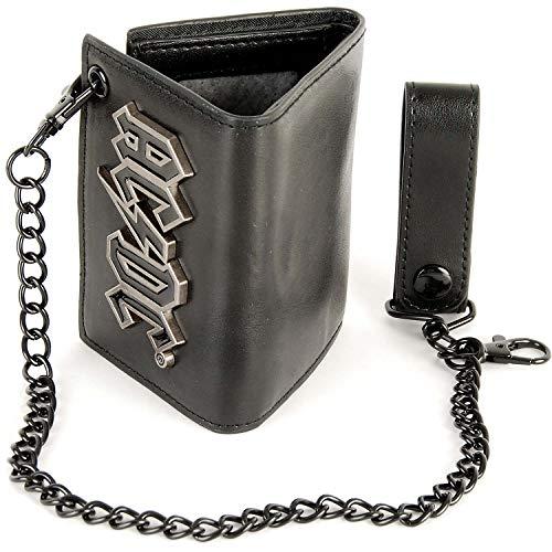 AC/DC Men's Trifold Chain Wallet Tri-Fold Wallet Black
