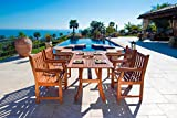 Vifah V187SET22 Outdoor 5-Piece Wood Dining Set with Rectangular Curvy Dining Table and 4 Armchairs For Sale