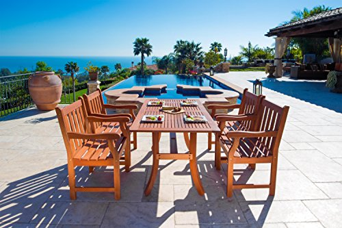 Mission Rectangular Dining Table (VIFAH V187SET22 Outdoor 5-Piece Wood Dining Set with Rectangular Curvy Dining Table and 4 Armchairs)