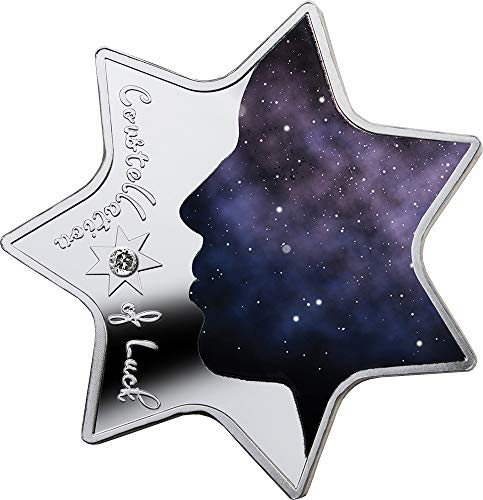 Shaped Silver Coin (2019 CM Modern Commemorative PowerCoin CONSTELLATION LUCK Star Shaped Silver Coin 1000 Francs Cameroon 2019 Proof)