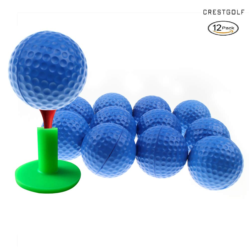 Crestgolf Foam Sponge Practice Golf Ball Soft Balls for Cats 12/50 pcs per Bag (Blue) by Crestgolf