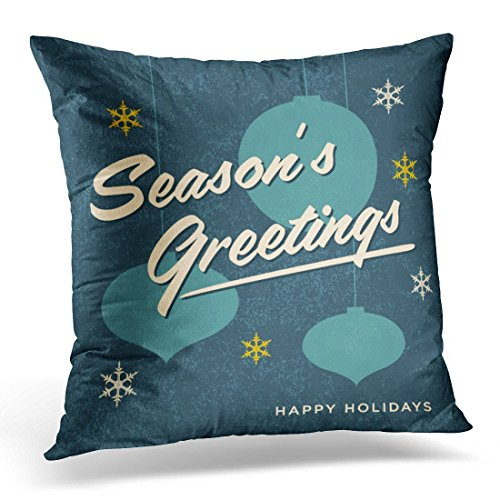 SPXUBZ 2018 Seasons Greetings Retro Vintage 2018 Christmas Decorative Home Decor Square Indoor/Outdoor Pillowcase Size: 18X18 Inch(Two Sides)