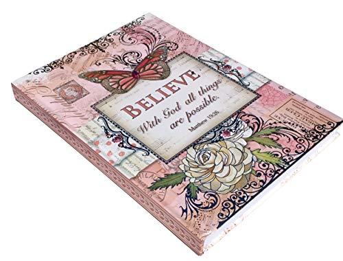 Pooch & Sweetheart Pink Butterfly Garden Silver Foil Gem Embellished Matthew 19:26 Scripture Journal (97952)