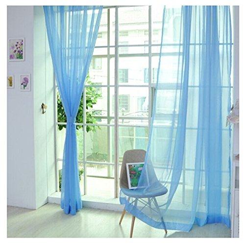 2er Pack Voile transparent Übergardinen Gardine Vorhang Stores Raumteiler Fensterschal Dekoschal Voile 200x100 cm Himmelblau