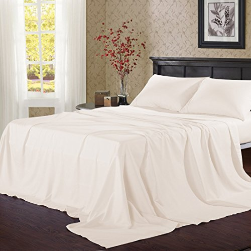 ! Black Friday Cyber Monday Sale ! The Great American Store 100% Egyptian Cotton - 500 Thread Count 4 Piece Bedspread- Color Ivory Twin Sheet Set - Fits Upto 18 Inch Deep Pocket Solid]()