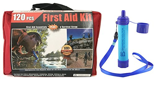 First Aid Kit Bundled with Water Filtration Straw: All Pu...