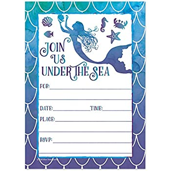 mermaid watercolor birthday party invitations for girls summer pool party kids under the sea invites - Under The Sea Party Invitations
