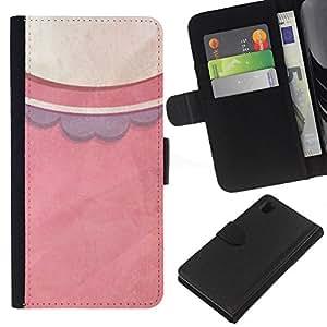 WINCASE Cuadro Funda Voltear Cuero Ranura Tarjetas TPU Carcasas Protectora Cover Case Para Sony Xperia Z1 L39 - modelo de vestido en colores pastel de la moda