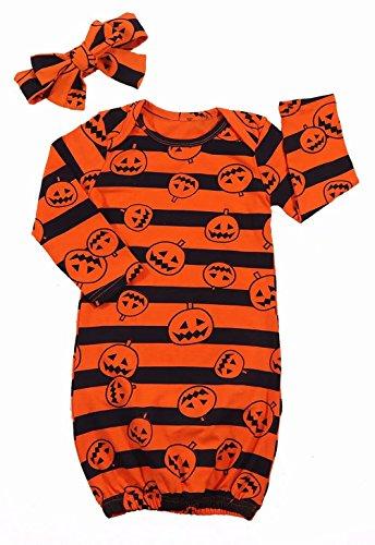 Newborn Baby Girls Halloween Cartoon Pumpkin Sleeper Gown Coming Home Outfit+Headband Size 0-6 Months/Tag70 -