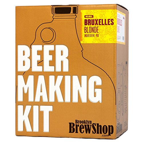 Brooklyn Brew Shop Bruxelles Blonde Beer Making Kit: All-Grain Starter Set With Reusable Glass Fermenter, Brew Equipment, Ingredients (Malted Barley, Hops, Yeast) Perfect to Brew Craft Beer At Home ()