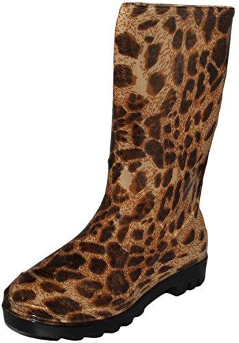 Womens 10 Tommers Shafted Fashion Slitesterk Gummi Regn Støvler Pledd Og Leopard Utforming Leopard