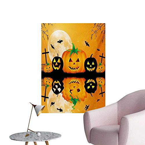 ParadiseDecor Halloween Wallpaper Spooky Carved Halloween Jack o Lantern and Full Moon with Bats and Grave LakeOrange Black W32 xL36 Custom Poster ()