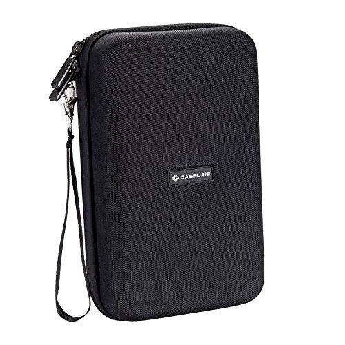 "51k%2B4SUGgDL - Caseling Universal Electronics/Accessories Hard Travel Organizer Carrying Case Bag, 9.8"" x 5.6""x 2.8"" - Black"
