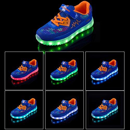 LED Zapatos,Shinmax Primavera-Verano-Otoño Transpirable Zapatillas LED 7 Colores Recargables Luz Zapatos de Deporte de Zapatillas con Luces Para Niños Niñas con CE Certificado Azul Oscuro