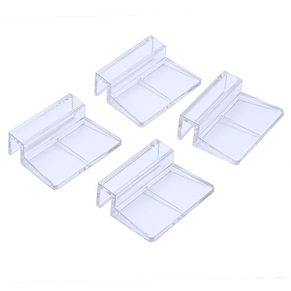 4 Pcs 8mm Acrylic Clear Fish Tank Aquarium Fixed Glass Cover Clip Clamp Support Holder Elisona