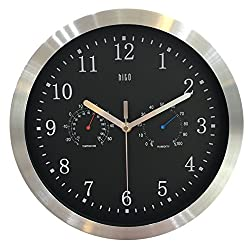 hito Silent Wall Clock Non ticking 12 inch Excellent Accurate Sweep Movement Silver Aluminum Frame, Modern Decorative for Kitchen, Living Room, Bathroom, Bedroom, Office, Classroom (T&H-black)