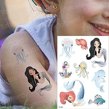 tzxdbh Tatuaje Temporal niños Etiqueta Sirena Tatuaje Ballena mar ...
