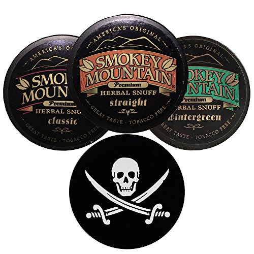 Smokey Mountain Herbal Snuff/Chew Straight, Classic, and Wintergreen - 3ct - Includes DC Skin Can Cover (Jolly Roger Skin) (Cut Skoal Long)