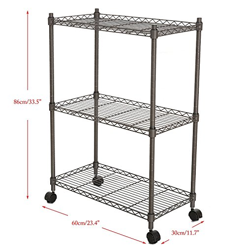 "Leoneva 3-Tier Adjustable Rolling Chrome Cart Wire Shelving Rack with Locking Wheels, 11.7""(D) x 23.4""(W) x 33.5""(H), Gray"