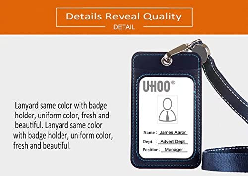 UHOO Badge Holder, Leather Vertical ID Card Holder with Neck