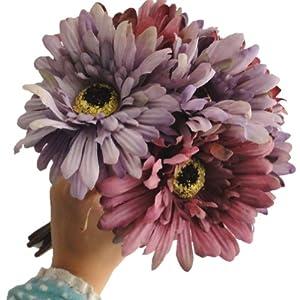 "Lily Garden 10.6"" 7-stem Mixed Color Gerbera Daisy Silk Floral Bouquet (Purple) 92"