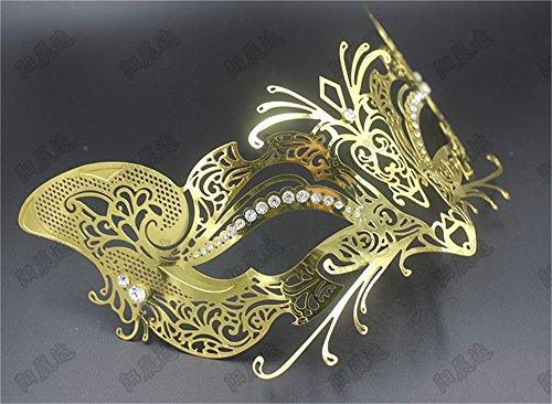 Mardi Gras Party Masquerade Mask,Halloween Mask Makeup Dance Bar Show Mask Cosplay Venice Catwoman Mask Party Gold Prom Masks -