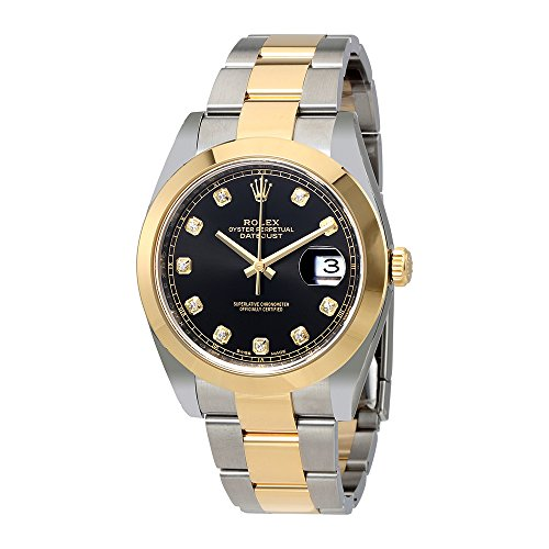 Rolex Datejust Black Diamond Dial Steel and 18K Yellow Gold Oyster Mens Watch 126303BKDO