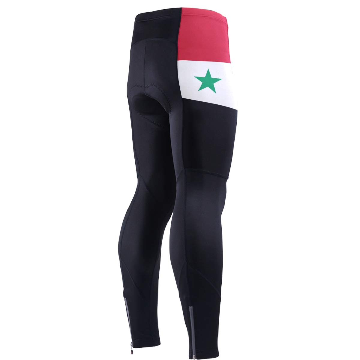 CHINEIN Men's Cycling Jersey Long Sleeve with 3 Rear Pockets Pants Syria Flag