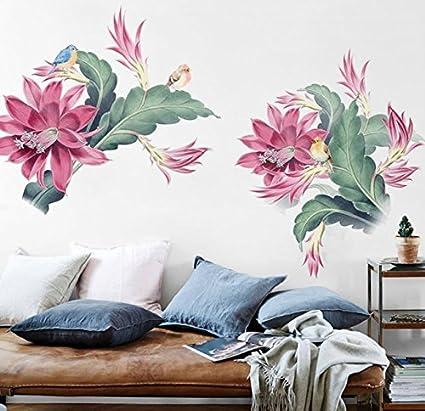 Reyqing La carta da parati, fiori, Wall stickers, camera da letto ...
