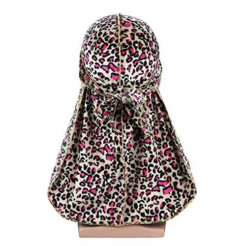 Silky Leopard Print Velvet Durag 360, 540,720 Waves Extra Long Tail and Wide Straps for Men Du-RAG(4-Colors)