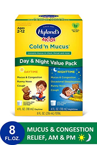 Cold Medicine for Kids Ages 2+ by Hyland's, Cold 'n Mucus Relief Liquid Value Pack, Natural Relief of Mucus & Congestion, Runny Nose, Cough Syrup, 4 Ounces