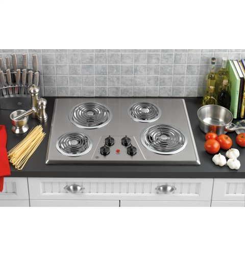 GE JP328SKSS 30 Electric Cooktop - Stainless Steel by GE