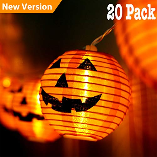 Jolik Pumpkin String Lights DIY Polyester Halloween Pumpkin Lanterns with 20 LED Lights for Halloween Decoration