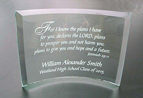Personalized Etched Glass Achievement or Graduation Plaque, Jeremiah 29 11 Beveled Glass Crescent (Plaque Glass Jade)