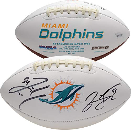 Jason Taylor, Zach Thomas Miami Dolphins Autographed White Panel Football - Fanatics Authentic Certified Autographed Miami Dolphins Football