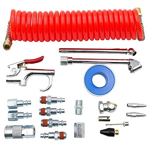 FIXSMITH Compressor Accessory Kit - 20 Pcs Air Compressor Kit with PE Recoil Hose,Blow Gun,Air Tool 1/4in NPT Fittings,Air Chuck & Inflation Needle,Storage Case Included.ATMSW-08.