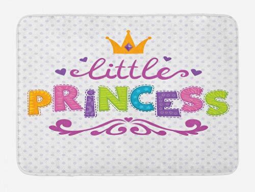 Ambesonne Feminine Bath Mat, Little Princess Lettering on Polka Dot Background Cheerful Illustration, Plush Bathroom Decor Mat with Non Slip Backing, 29.5 W X 17.5 L Inches, Fuchsia Green ()