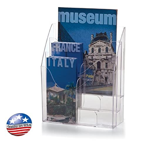 Officemate Multi-Use Literature Holder, 6 Pockets for 4.125 Inch Wide Leaflets or 3 Pockets for Letter Size Sheets or Folders, Clear - 9 Pocket Magazine Display