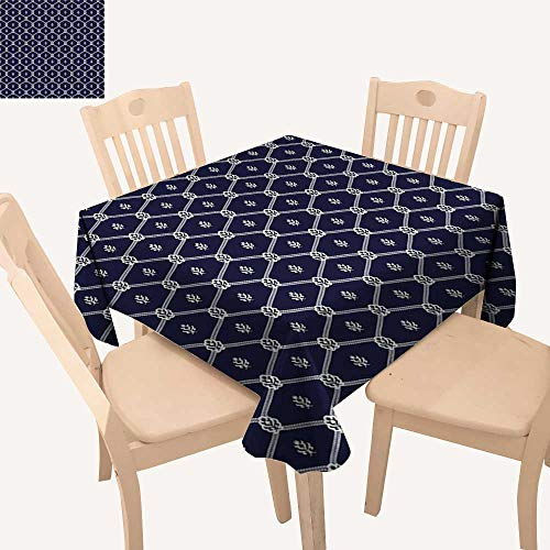 - haommhome Geometric Christmas Tablecloth Ornamental Nautical Themed Image with Marine Motifs Ropes Aquatic Elements Outdoor Tablecloth W 60