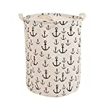 Foldable Laundry Hamper Dirty Clothes Basket ,CENDA Round Portable Dirty Cloth Multi-Functional Storage Container with Handle for Home,White Anchor
