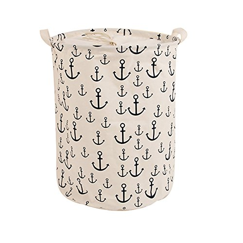 Foldable Laundry Hamper Dirty Clothes Basket ,CENDA Round Portable Dirty Cloth Multi-Functional Storage Container with Handle for Home,White Anchor by CENDA
