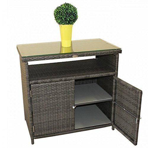sideboard belmonte alu kunststoffgeflecht rattan optik dunkelgrau glasplatte kommode schrank. Black Bedroom Furniture Sets. Home Design Ideas