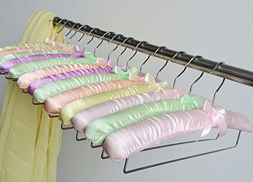 BUNITA,Colorful Satin Padded Hanger for Pants and Skirt With Locking Bar (10 pieces/ Lot),Hanger skirt by BUNITA