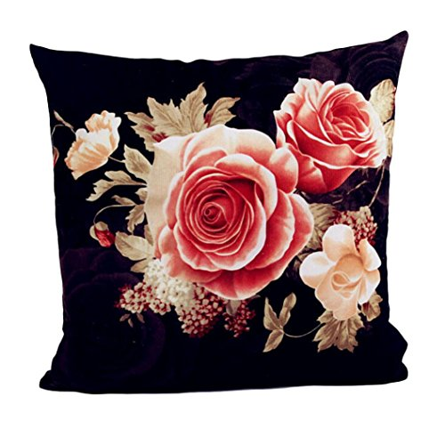 Pillow Case,Bokeley Cotton Linen Square Peony Floral Print Decorative Throw Pillow Case Bed Home Decor Cushion Cover (Black) (Linen Peony)