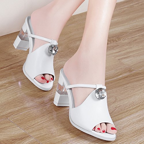 Jqdyl High Heels New Fashion Wild Outdoor High-Heels Dick Mit Coole Hausschuhe Frauen Schuhe Sandalen  34|white
