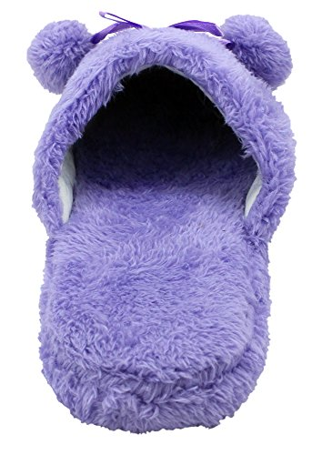 Shoes House Footbed Slippers Women's Fuzzy Purple Enimay Padded Patterned Loafers Soft zUFtznx