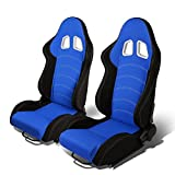 Set of 2 Universal Double Stitch Type-R Woven Fabric Reclinable Racing Seats w/ Sliders (Black/Blue)