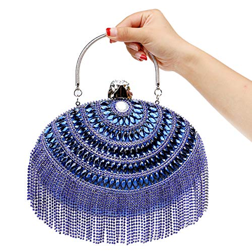 Blue Evening Elegant Purse Bead Womens Clutches Handbags Party For Chain Fringe Bags Wallet 76wqz7d