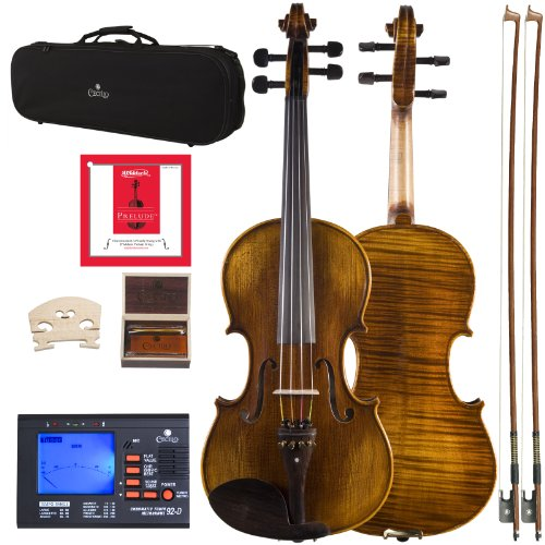 Cecilio 16.5 Inch Viola Strung with D'Addario Prelude Strings, Finished with Hand Oil Rubbed and Highly Flamed 2-Piece Back Solidwood, CVA-600 by Cecilio