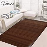 Venice Natural Bamboo 6' X 9' (72'x108') Floor Mat, Bamboo Area Rug Indoor Carpet, Elegant Walnut Dark Brown Color Finish, Non Skid Backing, Floor Runner Mat for Living Room, Hallway, Kitchen, Office